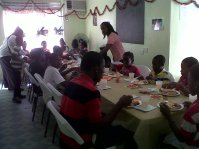 Children enjoying their Christmas Lunch - 2013